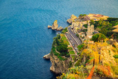 Aerial view of the quayside of Taormina Stock Photo