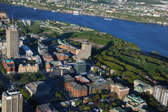 Aerial view of Quebec City. Area in the evening (downtown Stock Photo