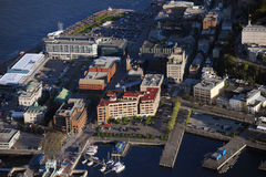 Aerial view of Quebec City. In the evening (old town Royalty Free Stock Photography