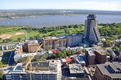 Quebec City and St Lawrence River in summer, Canada. Aerial view of Quebec City Loews Hotel Le Concorde and St Lawrence River in summer, Quebec, Canada stock photo