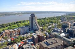 Quebec City and St Lawrence River in summer, Canada. Aerial view of Quebec City Loews Hotel Le Concorde and St Lawrence River in summer, Quebec, Canada stock photos