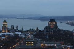 Aerial view of Quebec City`s old town rooftops and buildings at dusk Royalty Free Stock Photos