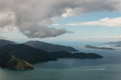 Aerial view of Queen Charlotte Sound Royalty Free Stock Photos