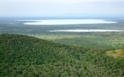 Aerial view of the Queen Elizabeth National Park Stock Photography