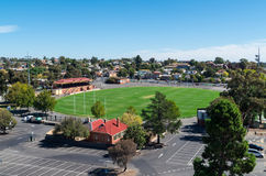 Aerial view of Queen Elizabeth Oval in Bendigo, Australia. In March 2015. Queen Elizabeth Oval hosts cricket and Australian rules football matches royalty free stock photography