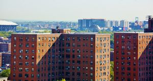Aerial view queens   new york panorama Royalty Free Stock Photos