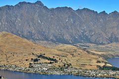 Aerial view of Queenstown stock photography