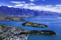 Aerial view of Queenstown in South Island, New Zealand Royalty Free Stock Photo