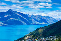 Aerial view of Queenstown in South Island, New Zealand Stock Image