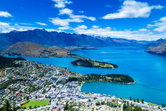 Aerial view of Queenstown in South Island, New Zealand Stock Photography