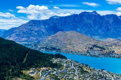 Aerial view of Queenstown in South Island, New Zealand Royalty Free Stock Images