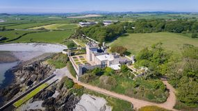 Quintin castle. Portaferry. county Down, Northern Ireland. Aerial view. Quintin castle. Portaferry. county Down, Northern Ireland. United Kingdom. Venue for royalty free stock image