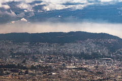 Aerial View of Quito from Cableway Royalty Free Stock Image