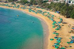 Aerial view of Quy Nhon beach with curved shore line in Binh Dinh province, Vietnam.  royalty free stock photos