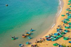 Aerial view of Quy Nhon beach with curved shore line in Binh Dinh province, Vietnam.  stock photography