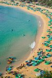 Aerial view of Quy Nhon beach with curved shore line in Binh Dinh province, Vietnam.  stock photos