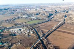 Aerial view of R3 motorway and a high speed rail. Near Madrid, Spain royalty free stock photo