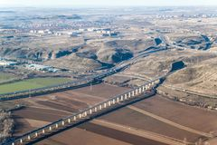 Aerial view of R3 motorway and a high speed rail. Near Madrid, Spain stock images