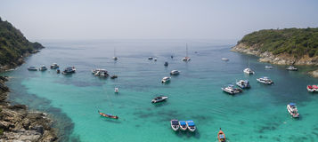 Aerial view of racha island harbor andaman sea phuket southern o Stock Images