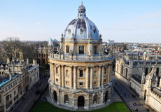 Aerial view of The Radcliffe Camera, Oxford, UK. The Radcliffe Camera, a large circular building with a lofty dome, was built by James Gibbs between 1737 and Stock Image