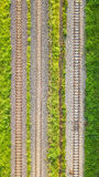 An aerial view of Railroad tracks.  stock photos