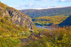 Aerial view on railroad tunnel and bridge in Harpers Ferry, West Virginia, USA. Stock Photos
