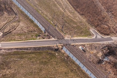 Aerial view of the railway crossroad Royalty Free Stock Image