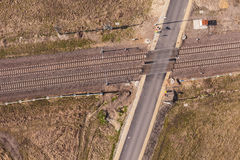 Aerial view of the railway crossroad Royalty Free Stock Photography