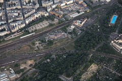 Aerial View of Railway Intersection In Magdeburg Royalty Free Stock Photo