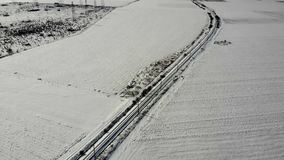 Aerial view of the railway section in Bulgaria. Aerial view of the railway section in Bulgaria in winter. 4K UHD stock footage