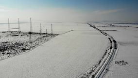 Aerial view of the railway section in Bulgaria. Aerial view of the railway section in Bulgaria in winter. 4K UHD stock video