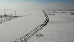 Aerial view of the railway section in Bulgaria. Aerial view of the railway section in Bulgaria in winter. 4K UHD stock video footage