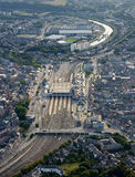 Aerial View : Railway station in a city. Aerial View : Railway station in the middle of a city (Namur Royalty Free Stock Photos
