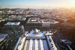 Aerial view of railway station and historical center royalty free stock photography