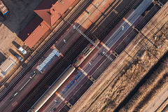 Aerial view of railway station Stock Photos