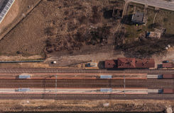 Aerial view of railway station Stock Images