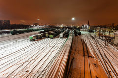 Aerial view on the Railway station. Winter railway station under the snow at night Stock Images