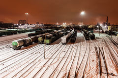 Aerial view on the Railway station. Winter railway station under the snow at night Royalty Free Stock Photos