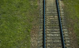 Aerial view of railway track through countryside. Stock Image