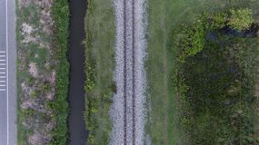 Aerial view of railway track in rural area Stock Photography