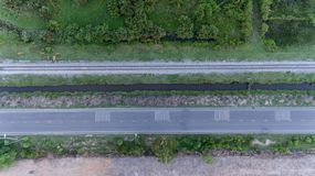 Aerial view of railway track in rural area Royalty Free Stock Photography