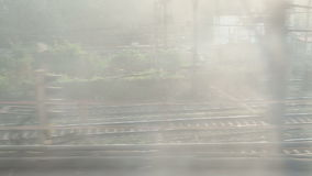 Aerial view on railway during the train ride in Mumbai. stock footage