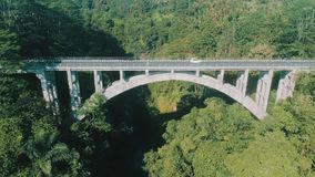 Aerial view of rain forest canyon and bridge. Aerial drone view of rain forest canyon and bridge in Bali, Indonesia stock video