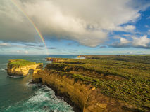 Aerial view of rainbow over Mutton Bird Island, Australia. Stock Photo