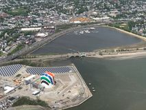 Aerial View of the Rainbow Swash, Boston, MA. Aerial View of the Rainbow Swash and the Dorchester Bay Basin in Boston, MA Stock Photo