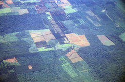 Aerial view of rainforest deforestation in Argentina and Brazil Stock Photo