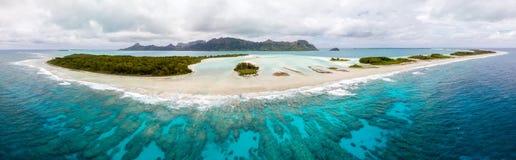 Aerial view of Raivavae island. Tubuai Islands Austral, French Polynesia, Oceania. Reef, motu, lagoon. stock photo