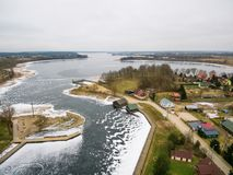 Aerial view of Rajgrodzkie Lake and bay near Yacht Club Arcus. In Rajgrod, Poland stock photos