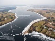 Aerial view of Rajgrodzkie Lake near Rajgrod. Poland Royalty Free Stock Photo