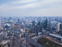 Aerial view of Rama 9 road, New CBD, Bangkok Downtown, Thailand. Financial district and business centers in smart urban city in stock photography